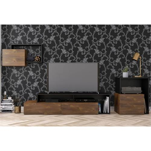 View a larger image of Nexera Paisley Entertainment Set (3 Piece, Truffle and Black) 400974 here.
