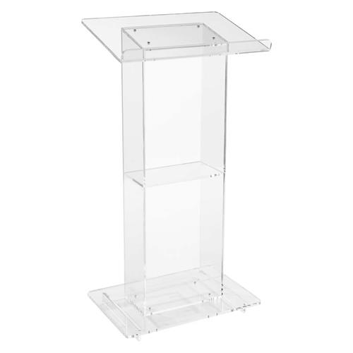 View a large image of the Oklahoma Sound Modern Clear Acrylic Lectern with Center Shelf 401S here.