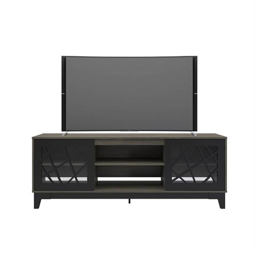 View a larger image of Nexera Graphik TV Stand (71-inch, Bark Grey and Black) 402323 here.