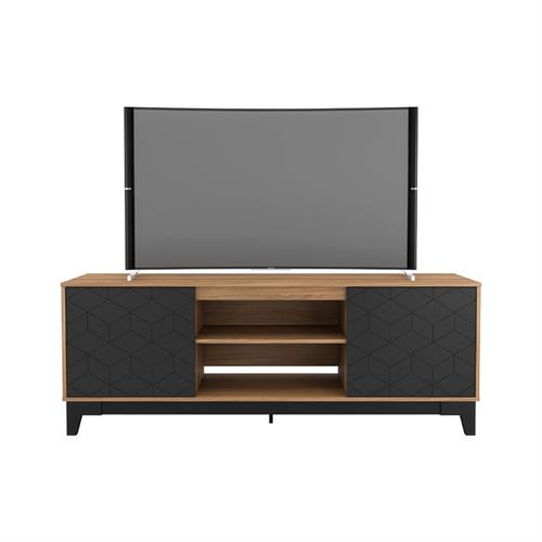 View a larger image of Nexera Hexagon TV Stand (71-inch, Nutmeg and Black) 402330 here.