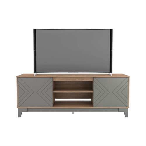 View a larger image of Nexera Arrow TV Stand (71-inch, Nutmeg and Greige) 402336 here.