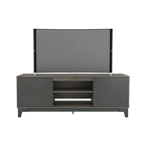 View a larger image of Nexera Arrow TV Stand (71-inch, Bark Grey and Charcoal Grey) 402339 here.