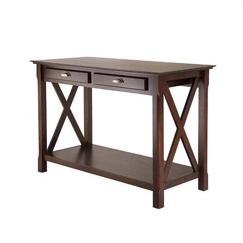 View a large image of the Winsome Xola Console Table w Shelf and 2 Drawers Cappuccino 40544 here.