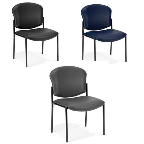 View a larger image of the OFM Vinyl Upholstered Armless Stacking Chair (Various Colors) 408-VAM here.