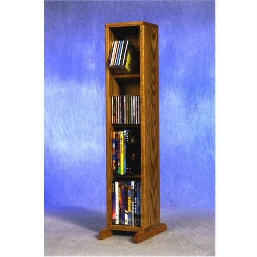 View a large image of the Wood Shed Small Capacity 4 Shelf CD DVD Rack Oak 415 here.