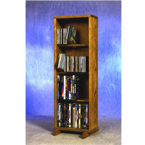 View a larger image of the Wood Shed Medium Capacity 4 Shelf CD DVD Tower (Oak) 415-12.