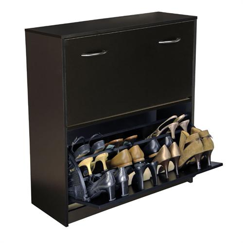 View a large image of the Venture Horizon Double Shoe Cabinet Black 4230-21BL here.