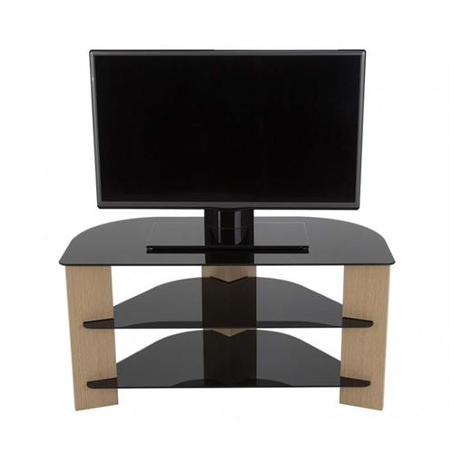 View a large image of the AVF Varano Black Glass 42 in. Corner TV Stand Oak FS900VAROB-A here.
