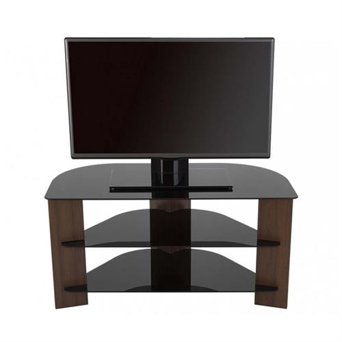 View a large image of the AVF Varano Black Glass 42 in. Corner TV Stand Walnut FS900VARWB-A here.