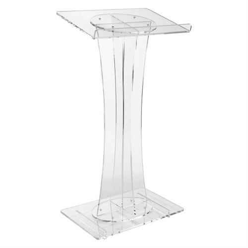 View a large image of the Oklahoma Sound Modern Curved Clear Acrylic Lectern 471 here.