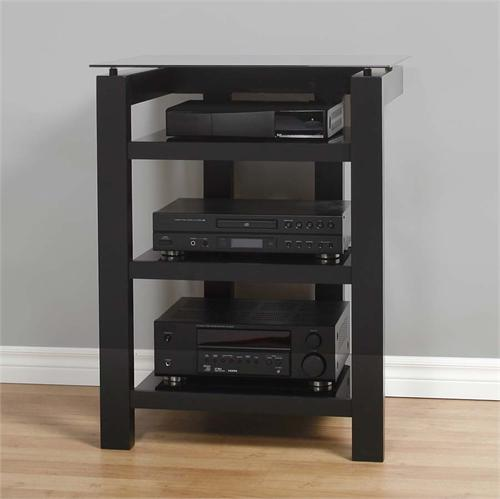 View a large image of the Plateau SL Series 4-Shelf Audio Rack Black Frame Black Glass SL-4A B-BG here.