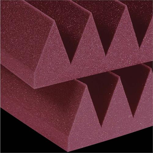 View a large image of the Auralex Acoustics 4 inch Wedge StudioFoam Sound Absorption Panels 2x2 ft Burgundy Pack of 6 4SF22BUR_HP here.