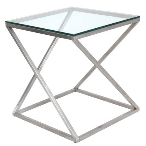 View a large image of the LumiSource 4Z Clear Glass Side Table TB-CT4Z SS here.