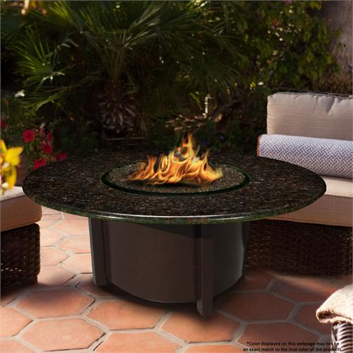 View a large image of the Fire Pit - Brown Carmel Chat Height & 54 inch Black Mahogany Granite 5010-BR-PG2-BM-54 here.