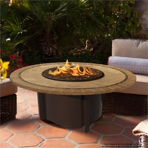 View a large image of the Fire Pit - Brown Carmel Chat Height & 48 inch Capistrano Mosaic 5010-BR-PG2-CAP-48 here.