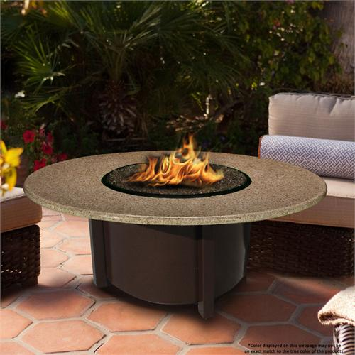View a large image of the Fire Pit - Brown Carmel Chat Height & 42 inch Sunset Gold Granite 5010-BR-PG2-SUN-42 here.
