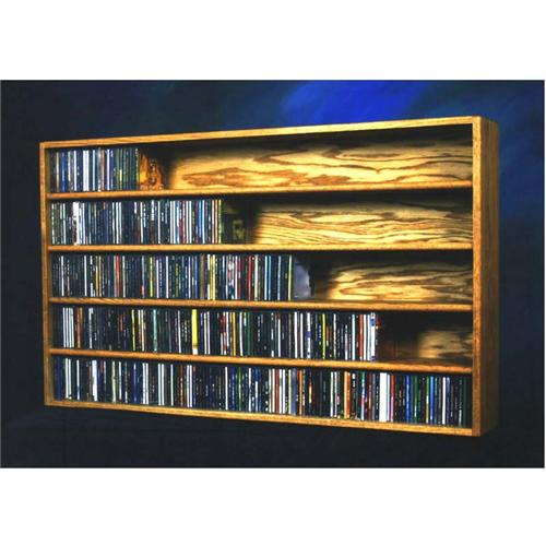 View a large image of the Wood Shed Solid Oak Wall & Shelf Mount CD Rack Holds 590 CDs TWS-503-4 here.