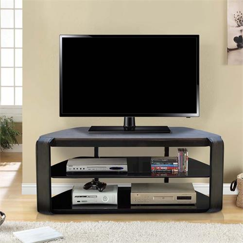 View a large image of the Living Essentials Olly Black Glass 60 in TV Stand (Oak) TFWVO0355 here.