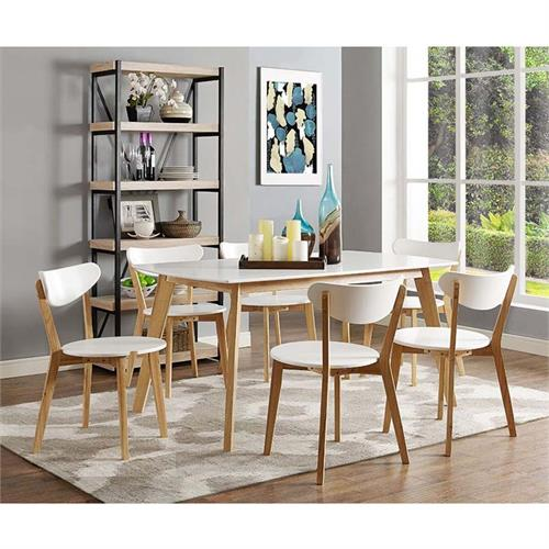 View a larger image of Walker Edison Retro Modern 5 piece Wood Dining Set (White and Natural Brown) C60RMWNL.
