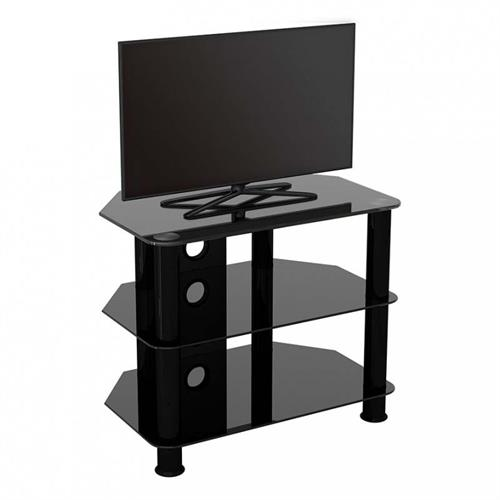 View a large image of the AVF SDC Series Black Glass 32 inch Corner TV Stand Black SDC600CMBB-A here.