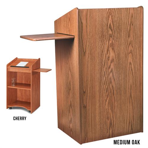 View a large image of the Oklahoma Sound Aristocrat Non-Sound Lectern Medium Oak OS-600-MO here.