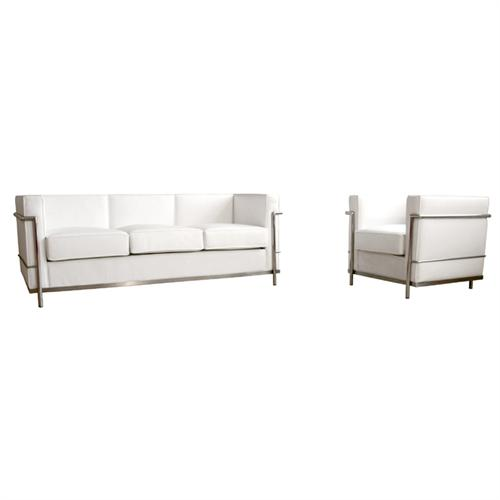 View a large image of the Wholesale Interiors Le Corbusier Petite White Leather Sofa Chair Set White 610-SET-WHITE here.