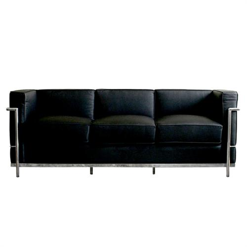 View a larger image of the Wholesale Interiors Le Corbusier Petite Black Leather Sofa (Black) 610-SOFA.