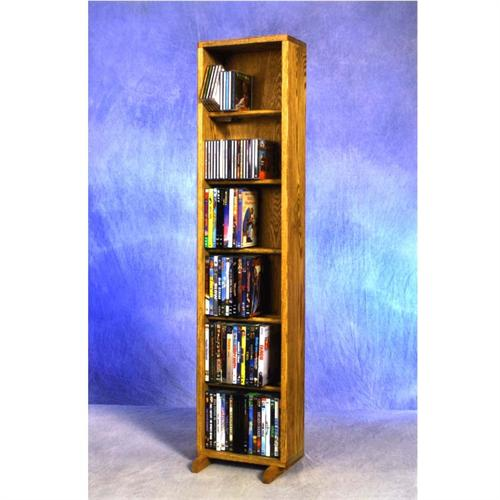 View a large image of the Wood Shed Medium Capacity 6 Shelf CD DVD Tower Oak 615-12 here.
