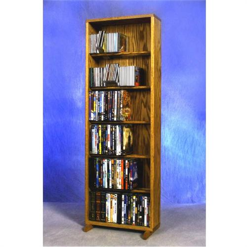 View a large image of the Wood Shed Large Capacity 6 Shelf CD DVD Tower Oak 615-18 here.