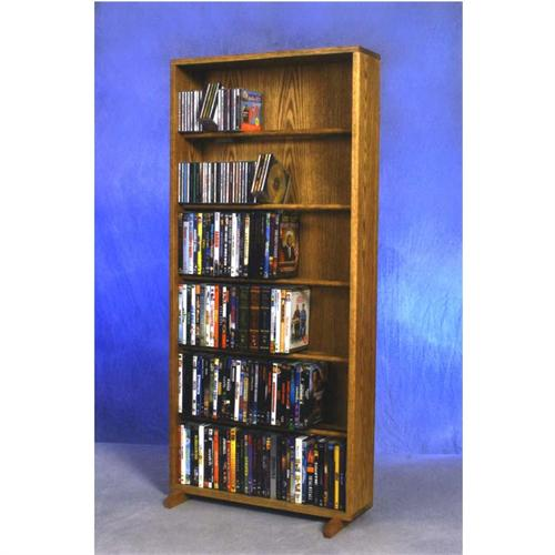 View a large image of the Wood Shed Extra-Large 6 Shelf CD DVD Wall Oak 615-24 here.