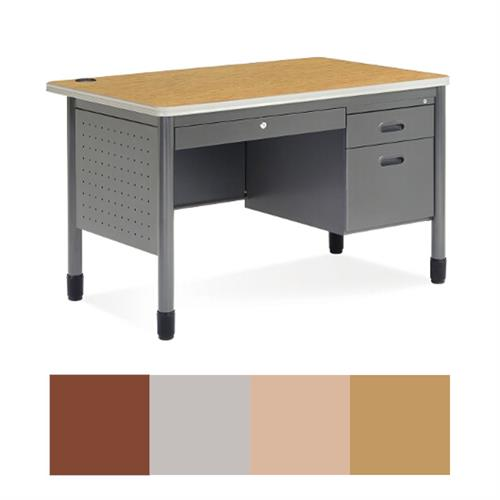 View a large image of the OFM 66348 Single Pedestal Teacher Desk Various Finishes here.