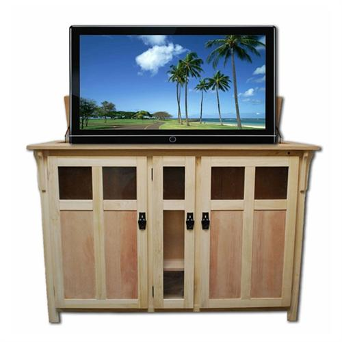 View a large image of the Touchstone Bungalow Theater Lift Cabinet for 32-60 inch Screens Unfinished 70162 here.