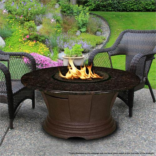 View a large image of the Fire Pit - Brown San Simeon Chat Height & 42 inch Black Mahogany Granite 7010-CB-PG2-BM-42 here.