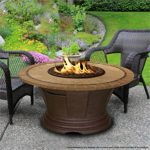 View a larger image of the Fire Pit - Brown San Simeon Chat Height & 48 inch Capistrano Mosaic 7010-CB-PG2-CAP-48.