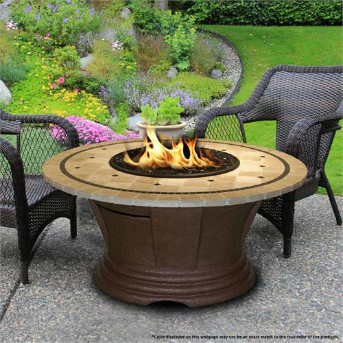 View a large image of the Fire Pit - Brown San Simeon Chat Height & 48 inch Laguna Mosaic 7010-CB-PG2-LAG-48 here.