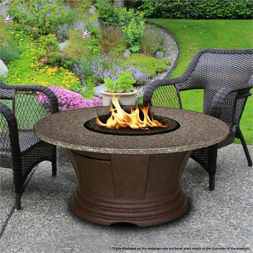 View a large image of the Fire Pit - Brown San Simeon Chat Height & 48 inch Pebble Granite 7010-CB-PG2-PEB-48 here.