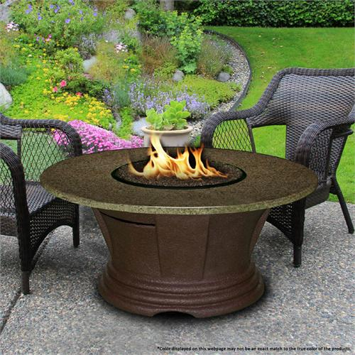 View a large image of the Fire Pit - Brown San Simeon Chat Height & 42 inch Sea Green Granite 7010-CB-PG2-SEA-42 here.