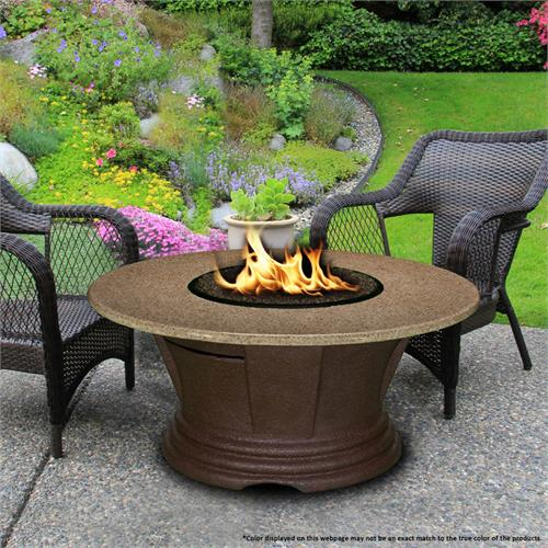 View a large image of the Fire Pit - Brown San Simeon Chat Height & 48 inch Sunset Gold Granite 7010-CB-PG2-SUN-48 here.