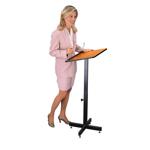 View a large image of the Oklahoma Sound Portable Presentation Lectern Stand Medium Oak 70-MO here.