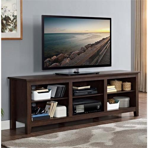 View a large image of the Walker Edison Essentials 70 inch TV Stand Traditional Brown W70CSPTB here.