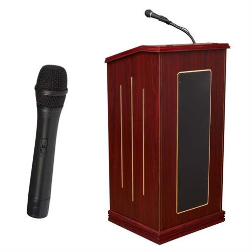 View a large image of the Oklahoma Sound Prestige Lectern with Speakers & Mic (Mahogany) 711-MY/LWM-5 here.