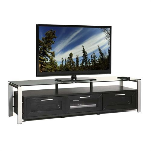 View a large image of the Plateau Floating Wood & Glass Stand for 50-71 in. TVs Black Oak Black Glass Decor 71 B-BG here.