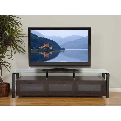 View a large image of the Plateau TV Stand for 50-71 in. TVs Espresso Clear Glass Black Frame Decor 71 E-B here.