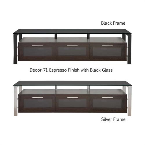 View a large image of the Plateau Floating Wood and Glass Stand for 50-71 in. TVs Espresso Black Glass Decor 71 E-BG here.
