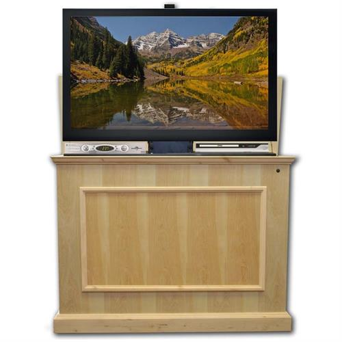 View a large image of the Touchstone Elevate End of Bed or Anyroom Theater Lift Cabinet for 24-46 inch Screens Unfinished 72012-UNF here.