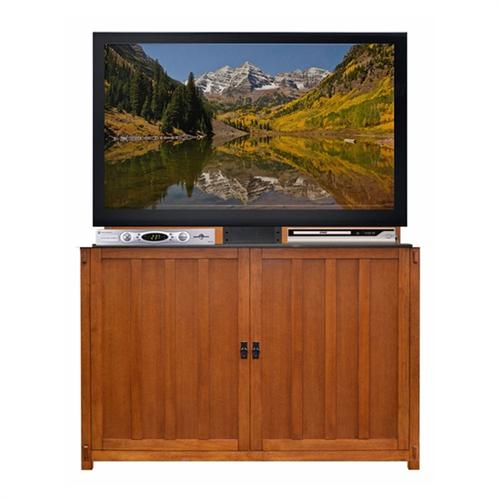 View a large image of the Touchstone Grand Elevate Mission TV Lift Cabinet for 60 inch Screens Light Oak 74006 here.