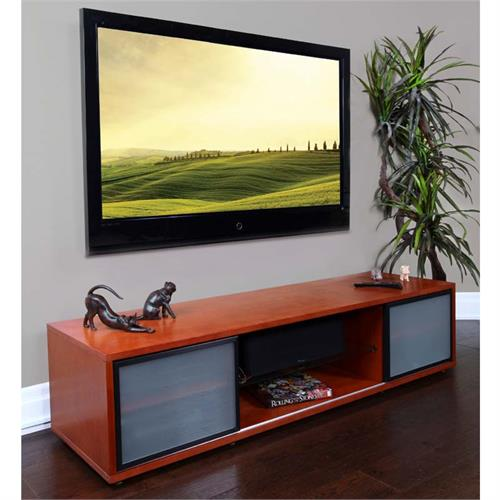 View a large image of the Plateau Retro TV Stand for 60-75 in. TVs Walnut Black Frame SR-V 75 WB-B here.