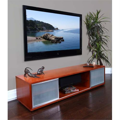 View a large image of the Plateau TV Stand for 60-75 in. TVs Walnut Silver Frame SR-V 75 WB-S here.