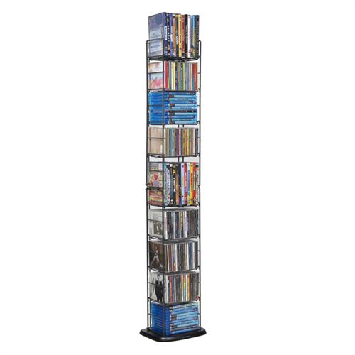 View a large image of the Atlantic Folding 8-Tier Multimedia Rack for CDs DVDs Blu-rays and Games Black 78205091 here.