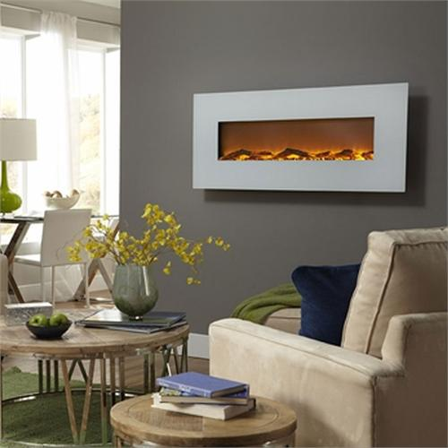 View a large image of the Touchstone Ivory 50 inch Electric Wall Mounted Fireplace White 80002 here.
